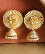 Priyaasi Gold-Plated Floral Patterned Jhumka Earrings with Pearls Drop