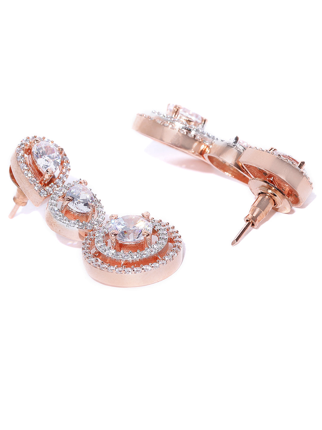 Rose Gold-Plated American Diamond Studded Drop Earrings