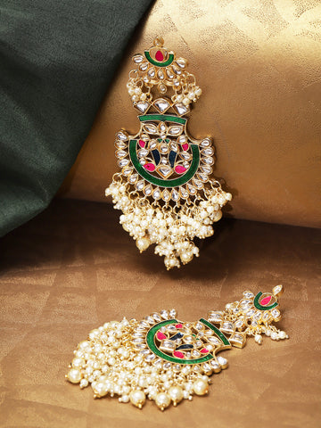 Gold Plated Kundan Studded Off-White Beaded Multicolor Drop Earrings