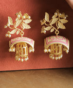 Priyaasi Gold-Plated Leaf Patterned Drop Earrings with Pink Meenakari Work