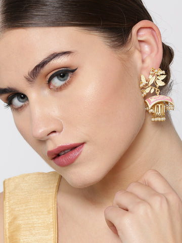 Gold-Plated Leaf Patterned Drop Earrings with Pink Meenakari Work