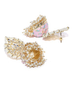 Gold Plated Kundan Studded Off-White Beaded Meenakari Pink Jhumka Earrings