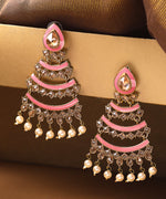 Priyaasi Gold Plated Kunda Studded Layered Design Pink Colour Drop Earrings
