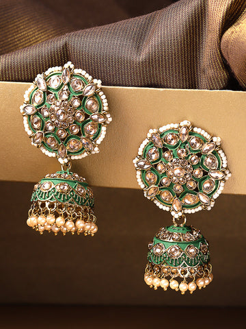 Gold-Plated Stones Studded Meenakari Jhumka Earrings in Green color with Pearls Drop