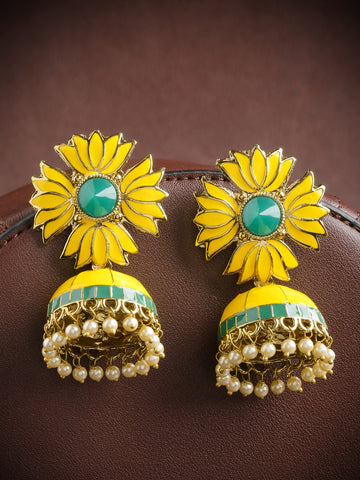 Gold-Plated Floral Patterned Jhumka Earrings with Meenakari work in Yellow and Green Color