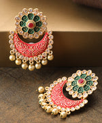 Priyaasi Gold-Plated Stones Studded Floral Patterned Drop Earrings with Meenakari work in Red And Green Color