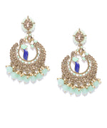 Priyaasi Gold-Plated Stones Studded Peacock Inspired Chandbali Earrings in Mint Green and Blue Color with Beads Drop