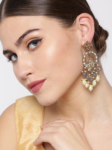 Gold-Plated Stone Studded Beaded Drop Earrings with Meenakari Work In Grey And white Color