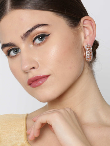 Rose Gold-Plated American Diamond Studded Small Hoop Earrings