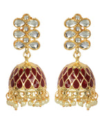 Priyaasi Gold Plated Kundan Studded Meenakari Maroon Jhumki Earrings
