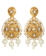 Gold Plated AD & Kundan Studded Floral Pattern Teardrop Shaped Earrings