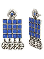 Oxidised Silver Plated Blue Stone Studded Square Shaped Drop Earrings