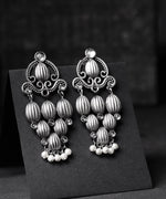 Priyaasi Oxidised Silver Kundan Studded Vertical Linear Patterns Drop Earrings