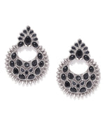 Priyaasi Oxidised Silver-Plated Black Stones Studded Chandbali Earrings