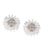 Priyaasi Gold-Plated American Diamond Studded Stud Earrings in Floral Pattern