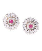 Priyaasi Gold-Plated American Diamond and Ruby Studded Stud Earrings in Floral Pattern