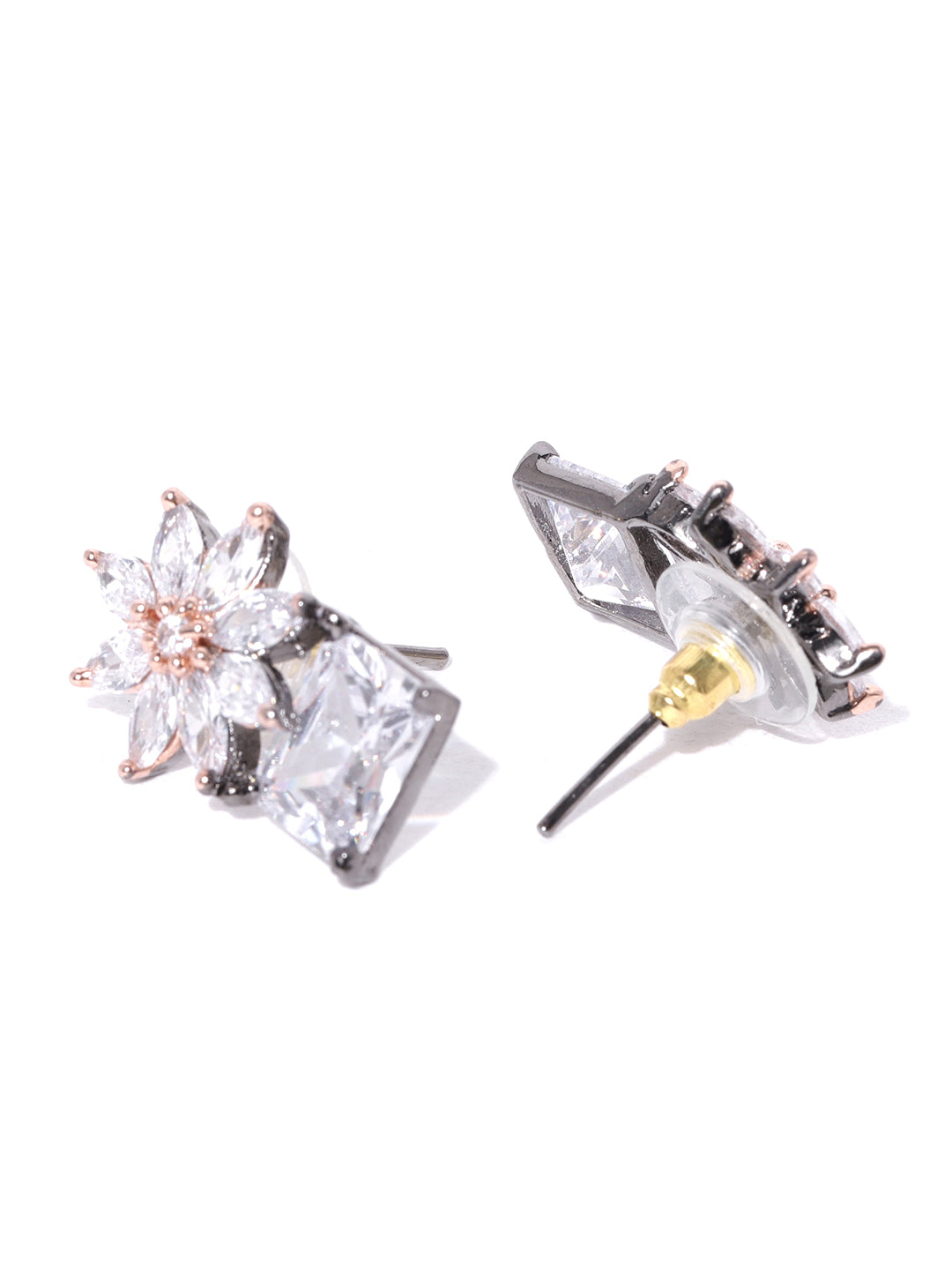 Gold-Plated American Diamond Studded Stud Earrings in Floral Pattern