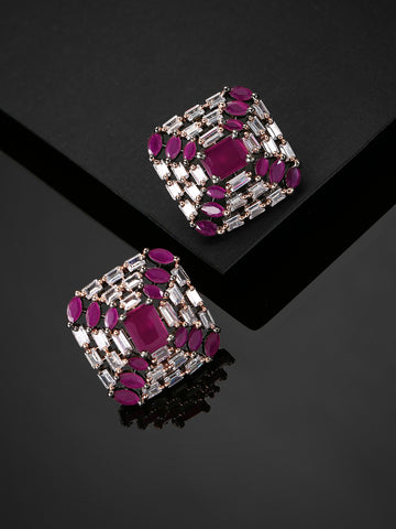 Gunmetal Plated AD & Magenta Stone Studded Square Stud Earrings