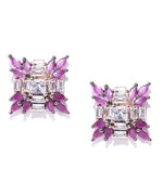 Priyaasi Gunmetal-Plated American Diamond and Ruby Studded Stud Earrings in Floral Pattern