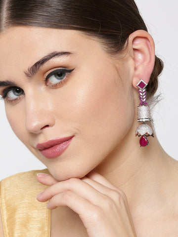 Gunmetal Plated Ruby & AD Studded Jhumki Like Drop Earrings
