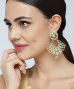 Priyaasi Gold Plated Mint Green Stone Studded Chandbalis Drop Earrings