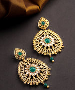 Priyaasi Gold Plated Emerald Studded Teardrop Shaped Earrings