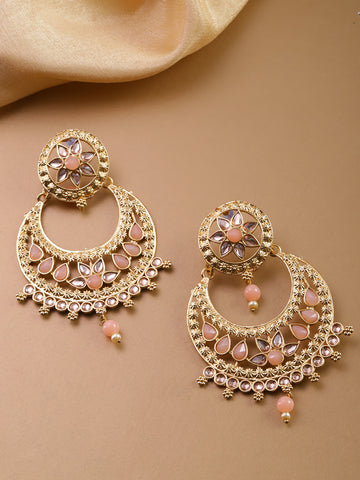 Gold Plated & Pink Stoned Chandbalis Drop Earrings