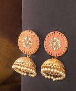 Priyaasi Gold Plated Meenakari Jhumka Earrings