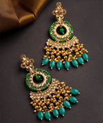Priyaasi Gold-Plated Stones Studded Green Beaded Drop Earrings with Beads Drop