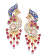 Priyaasi Gold-Plated Peacock Inspired Ruby and American Diamond Studded Drop Earrings with Meenakari in Blue and Pink Color