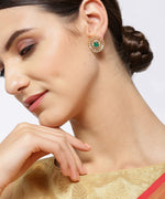 Priyaasi Gold-Plated American Diamond and Emerald Studded Stud Earrings