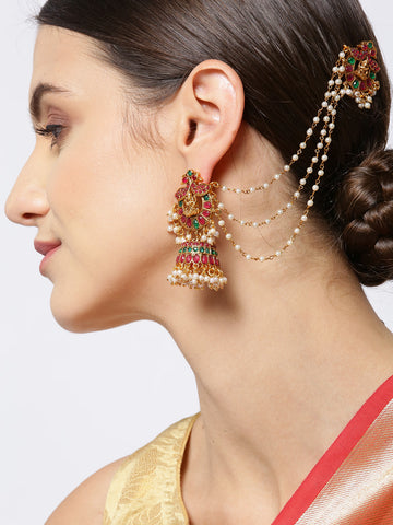 Gold-Plated Emerald and Ruby Studded Peacock Inspired Jhumka Earrings with Ear Chains and Pearls Drop