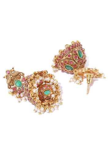 Gold-Plated Emerald and Ruby Studded Peacock Inspired Jhumka Earrings with Pearls Drop