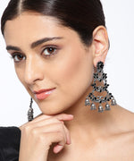 Priyaasi Oxidised Silver-Plated Black Stones Studded Peacock Inspired Drop Earrings
