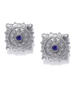 Priyaasi Oxidised Silver Plated Blue Stone Studded Square Shaped Stud Earrings