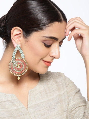 Gold Plated Stone Studded Mint Green & Maroon Circular Drop Earrings