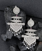 Priyaasi Oxidised Silver-Plated Stone-Studded Classic Drop Earrings