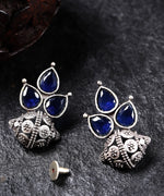 Priyaasi Blue Oxidised Silver-Plated Stone Studded Classic Drop Earrings