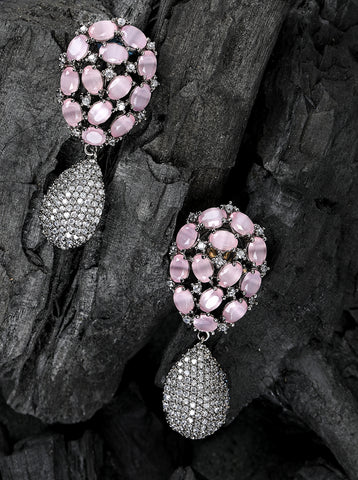 Silver-Plated Artificial Stone Studded Drop earrings