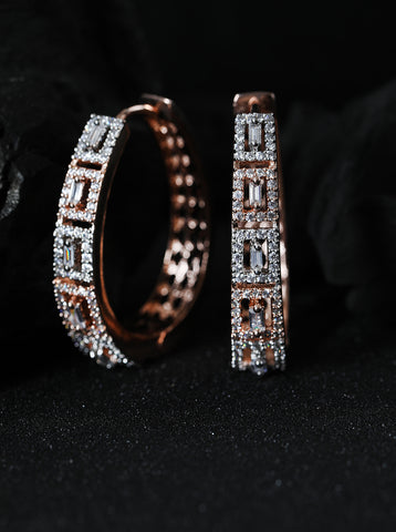 Rose Gold-Plated American Diamond Studded Hoop earrings
