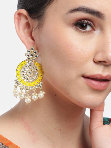 Yellow Colored Pearls Studded Earrings