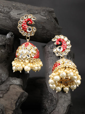 Red Beads Pearls Stones Gold Plated Peacock Jhumka Earring