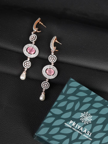 Pink Stones Pearls American Diamond Drop Earring