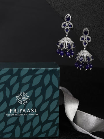 Blue Stones Beads American Diamond Jhumka Earring
