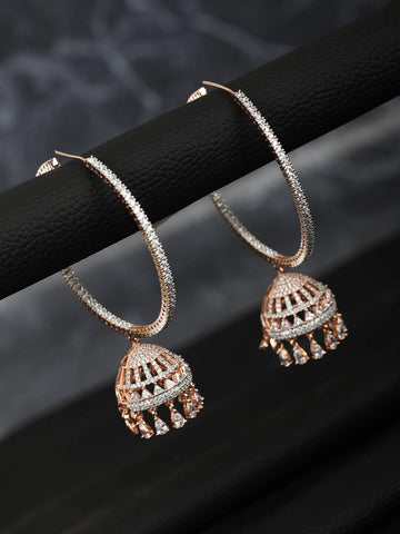 Rose Gold Plated American Diamond Hoop Earring