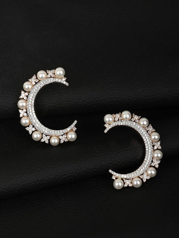 Beads American Diamond Half Hoop Earring