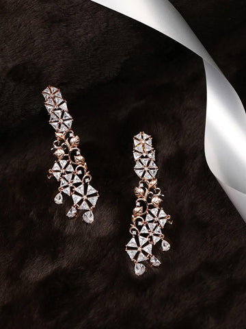 Rose Gold Plated American Diamond Drop Earring