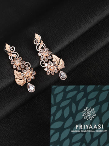 Rose Gold Plated American Diamond Floral Drop Earring
