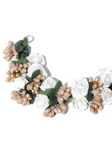 White and Golden Floral Hair Accessory