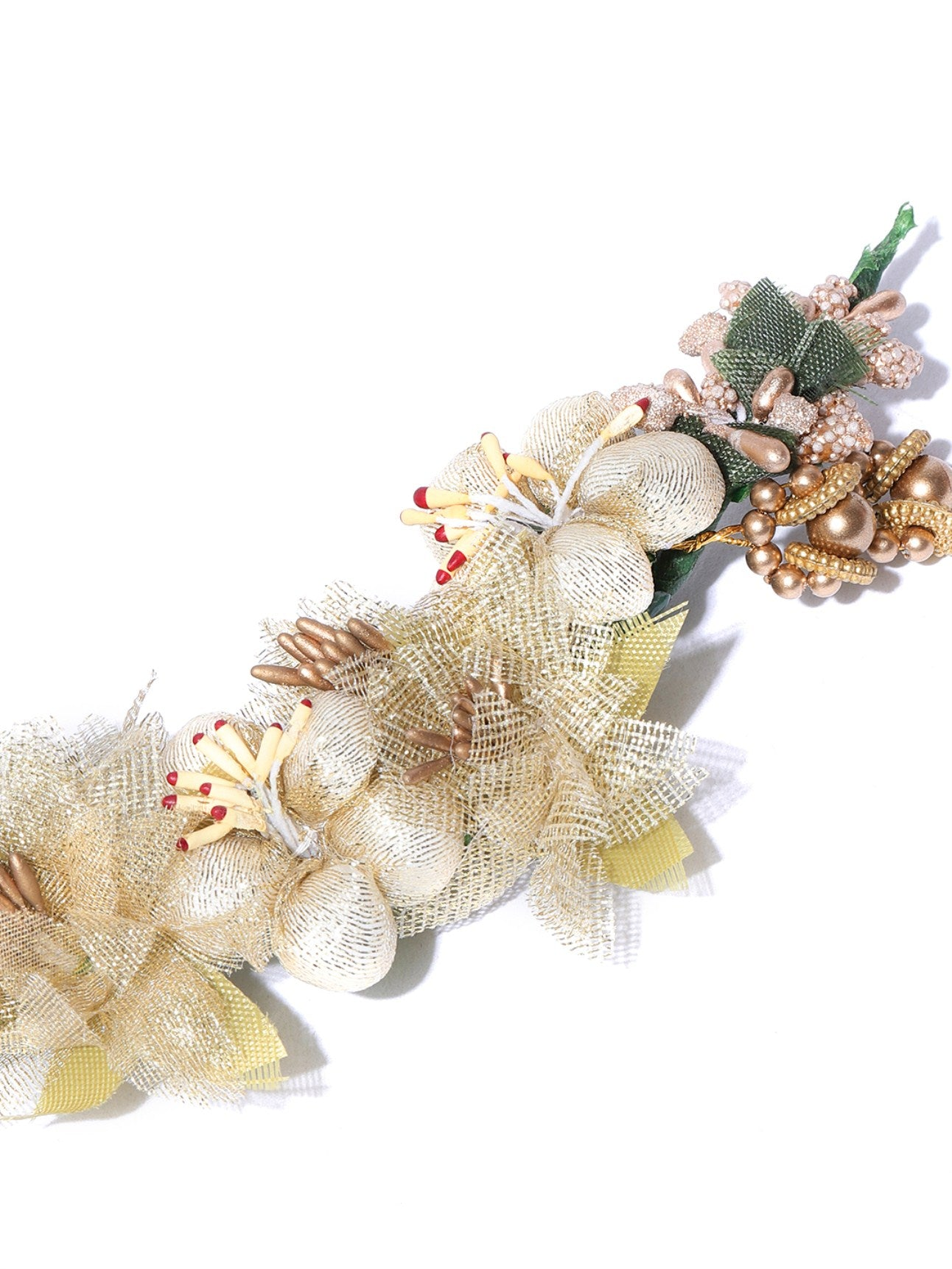 Golden and White Floral Gajra Hair Accessories for Women